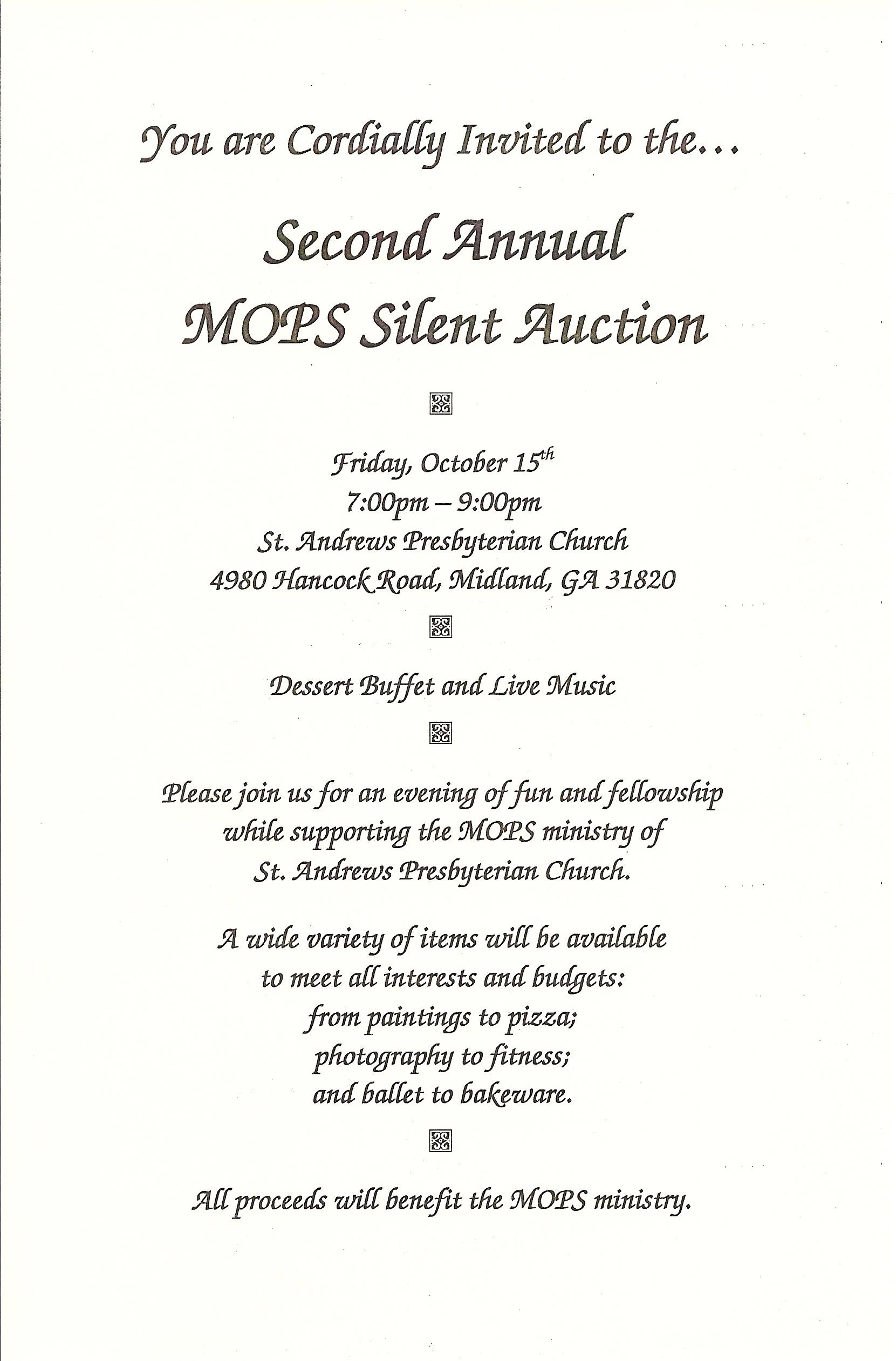 2nd Annual MOPS Silent Auction