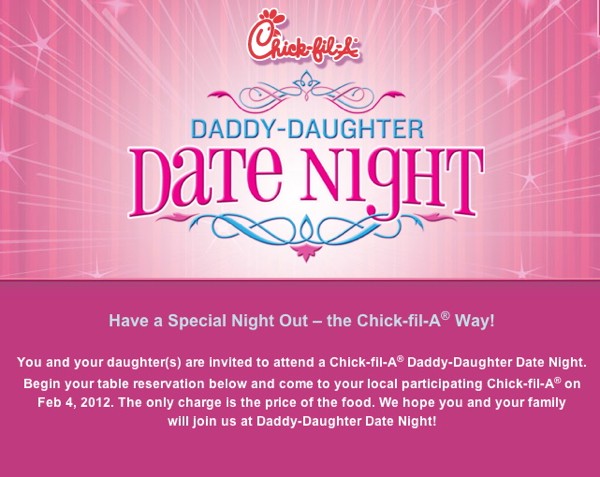 Daddy Daughter Date Night at Chick-fil-A