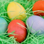 Easter Eggs In Grass Background
