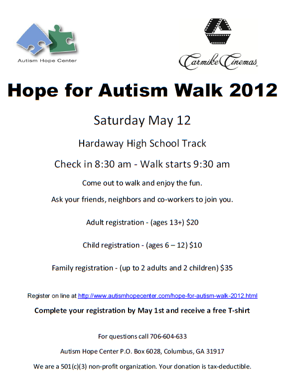 Hope For Autism Walk 2012 Muscogee Moms Local Events Parenting