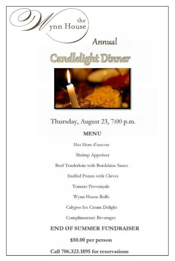 Wynn House Annual Candlelight Dinner