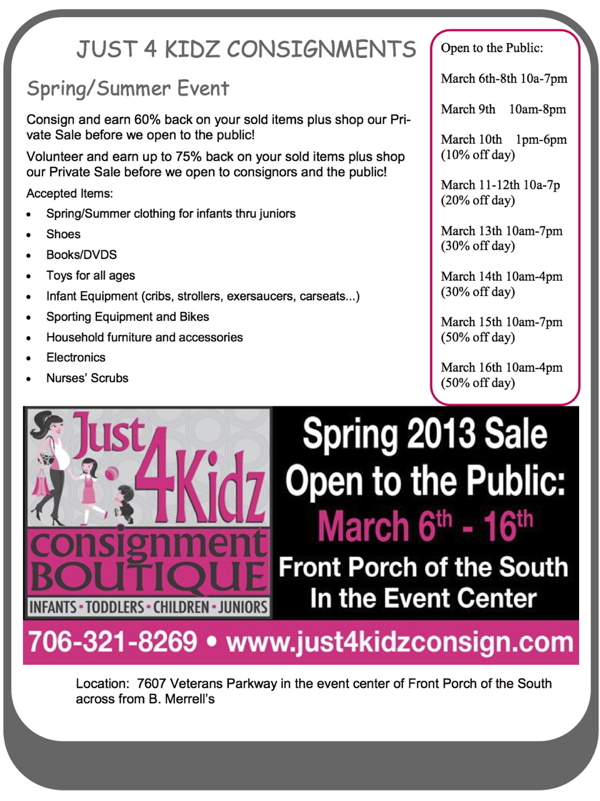 Just 4 Kidz Consignment flyer