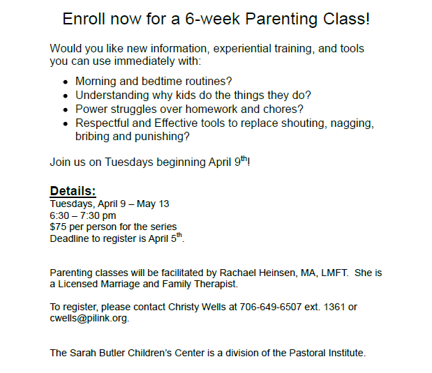 Sarah T. Butler Children's Center 6-Week Parenting Class