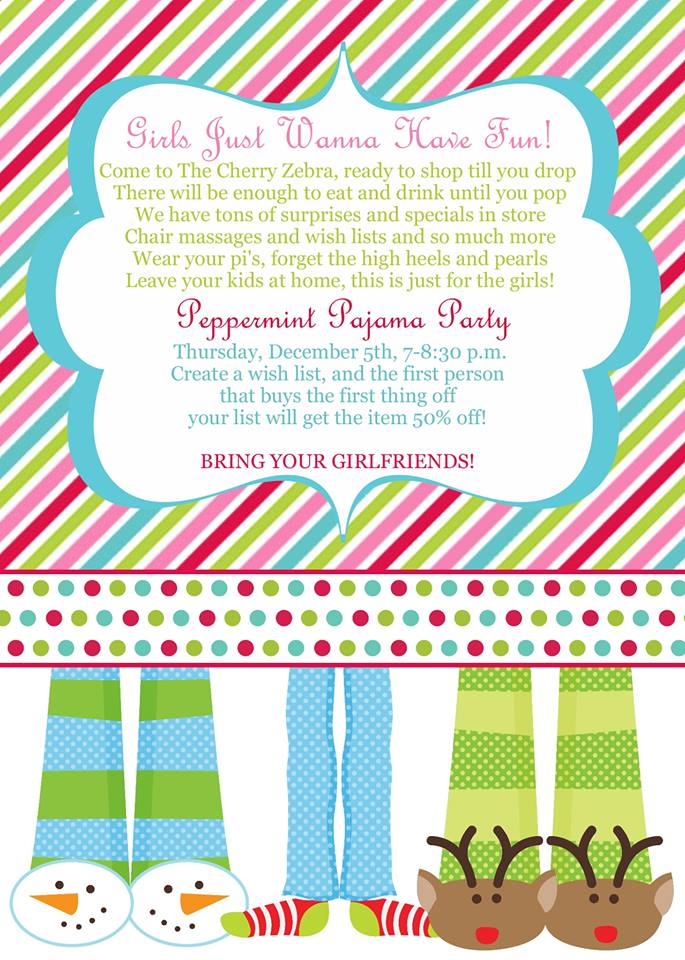 Peppermint Pajama Party at The Cherry Zebra