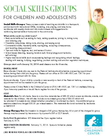 Social Skills Classes For Children & Adolescents at the Pastoral Institute