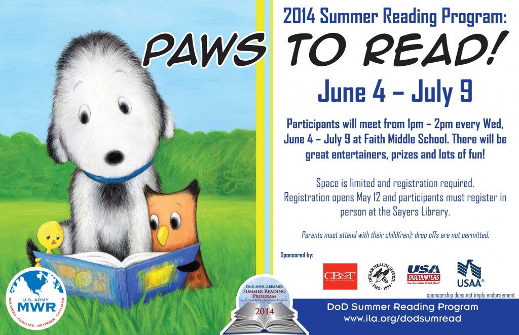 (Ft. Benning) Paws to Read! Summer Reading Program at Faith Middle School