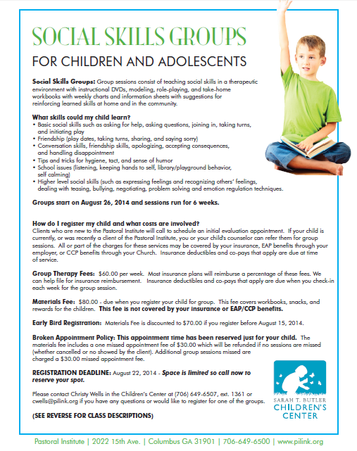 Social Skills Groups For Children & Adolsescents At The Pastoral Institute