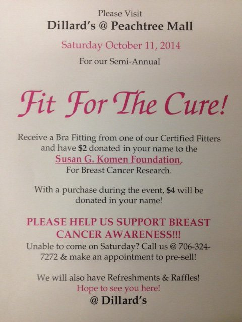 6168c8e9ace0e Fit For The Cure at Dillard s Department Store - Muscogee Moms