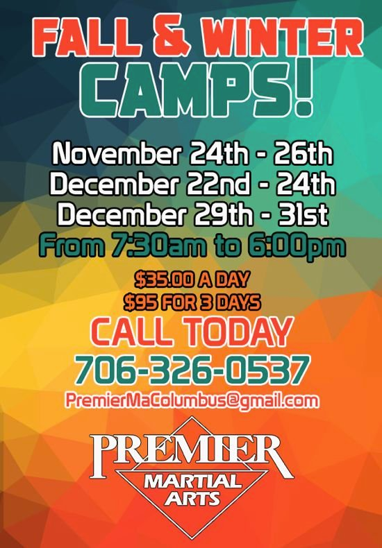 Fall and Winter Camps at Premier Martial Arts