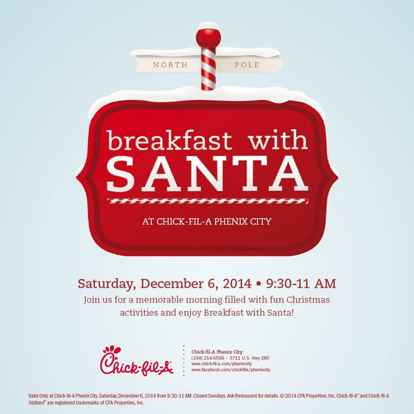 Breakfast With Santa at Chick-Fil-A in Phenix City