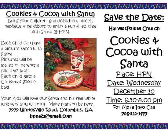 HarvestPoint Church presents Cookies & Cocoa with Santa