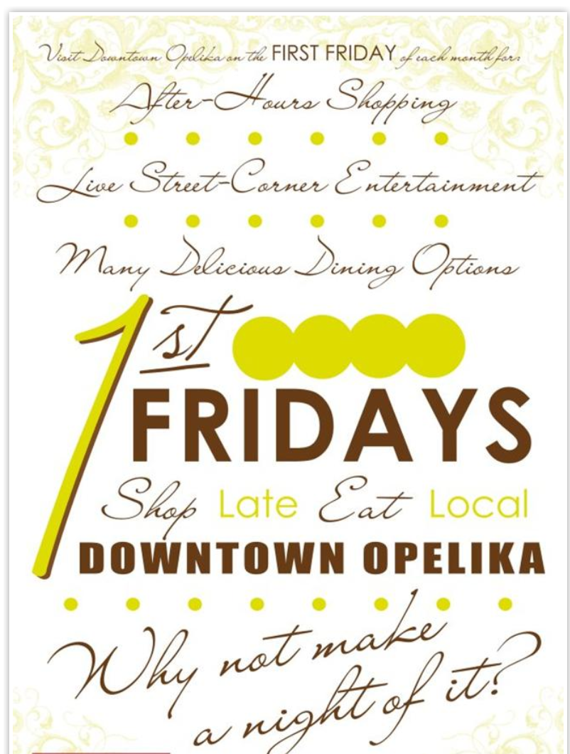 "First Fridays ""Shop Late, Eat Local"" (Opelika, AL)"