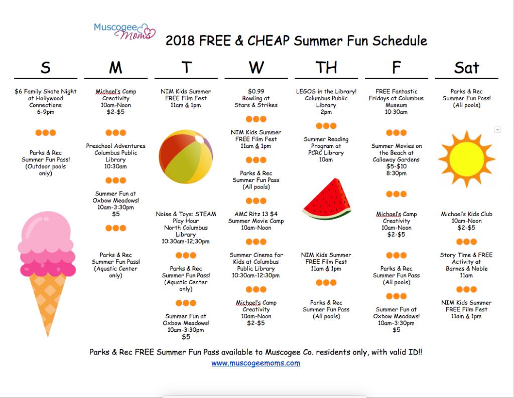 2018 Summer Fun Schedule