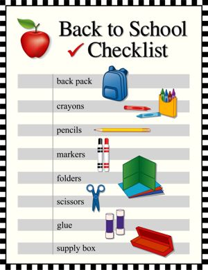 Checklist for back to school supplies, backpack, crayons, pencils, markers, folders, scissors, glue, supply box. Graphic illustrations in black and white check frame. Eps8 compatible.