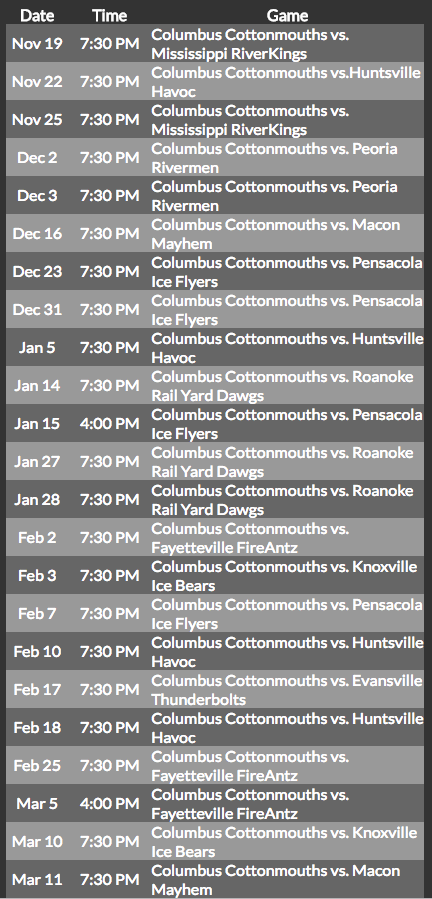 Cottonmouths 2016-17 schedule