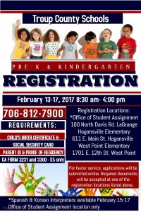 Troup Co Kindergarten & Pre-K Registration @ Troup County Board of Education | LaGrange | Georgia | United States