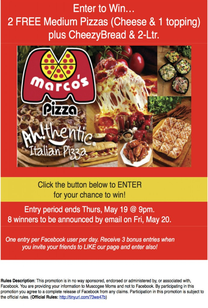Marcos Pizza Giveaway