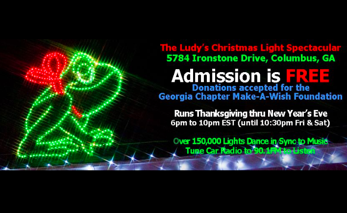 The Ludy's Christmas Light Spectacular features more than 200,000 Christmas lights dancing in sync to holiday music with 100% of the display handmade by the ...