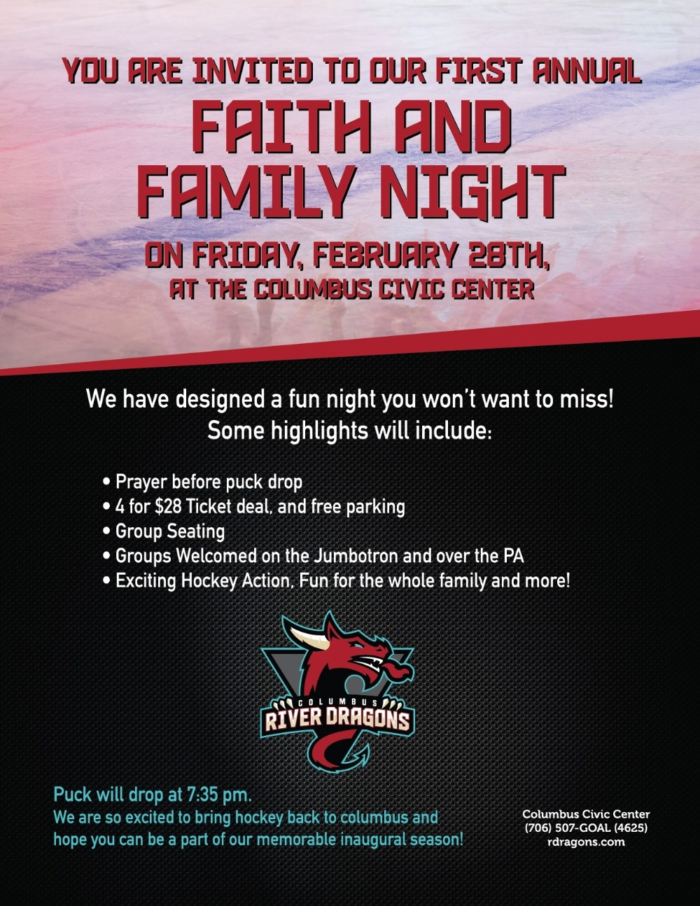 River Dragons Faith and Family Night